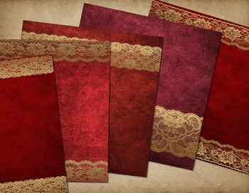 Red and Gold Lace Digital Paper Textures Backgrounds