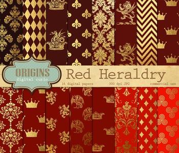 Red and Gold Medieval Heraldic Royal Digital Paper