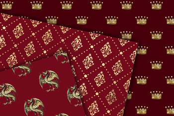 Red and Gold Princess Digital Paper
