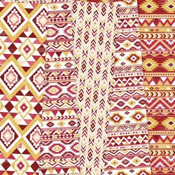 Red and Gold aztec Digital Paper, Boho seamless patterns backgrounds