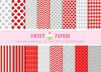 Red and Gray Digital Paper Pack - by Sweet Papers