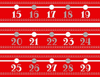 Red and Gray Number Line Decor