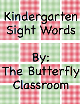Red and Green Checkered Kindergarten Sight Words