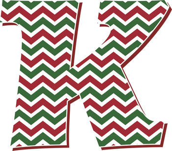 Red and Green Chevron Alphabet – Full Set With Latin Letters • Holiday Clip Art