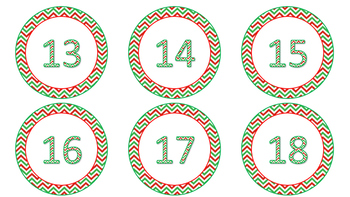 Red and Green Chevron Calendar Number Cards