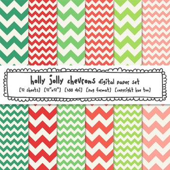 Red and Green Chevron Digital Paper Backgrounds, Christmas Chevrons