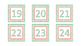 Red and Green Snowflake Square Calendar Number Cards