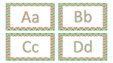 Red and Green Chevron Word Wall and Number Cards