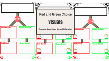 Red and Green Choice Visuals (Featuring Hand Drawn Boy and Girl Avatars/Icons)