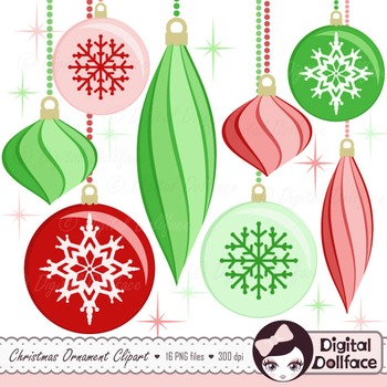 Red and Green Christmas Ornament Clip Art / Holiday Clipart