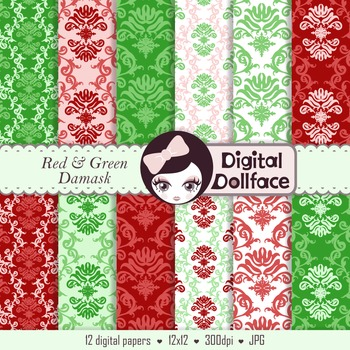 Red and Green Damask Backgrounds / Christmas Floral Digital Paper
