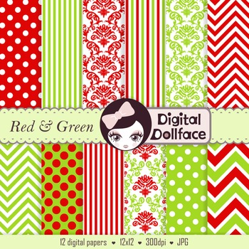 Red and Green Digital Paper / Christmas Damask, Stripe & P