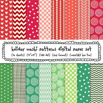 Red and Green Digital Paper, Christmas Patterns Digital Backgrounds