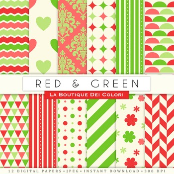 Red and Green Digital Paper, scrapbook backgrounds