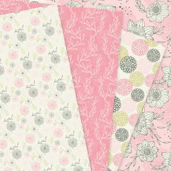 Pink Floral Digital Paper seamless patterns - dahlia flower backgrounds