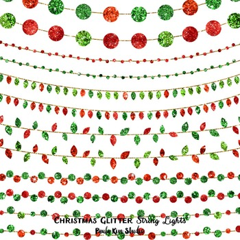 Red and Green Glitter String Lights