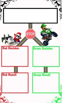 Red and Green Mario Kart Behavior Choices Organizer