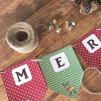 Red and Green Merry Christmas Banner