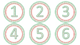 Red and Green Snowflake Circle Calendar Number Cards