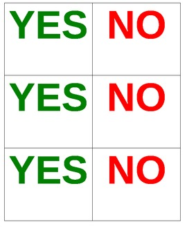 Red and Green Yes or No Cards