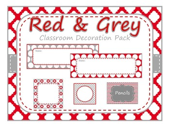 Red and Grey Classroom Decortation Pack
