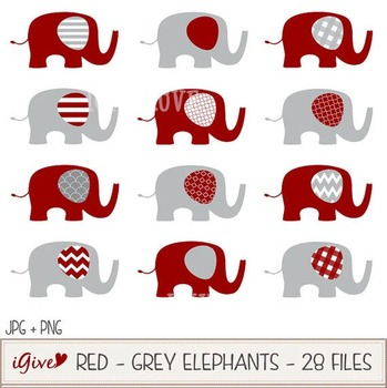 Red and Grey Elephants Clip Art