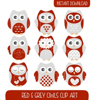 Red and Grey Owls Clip Art