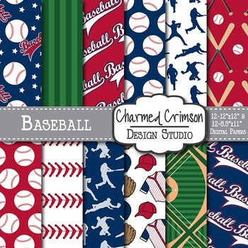 Red and Navy Blue Baseball Digital Paper 1448