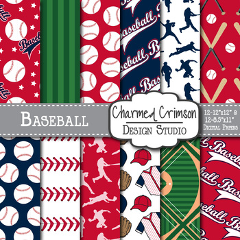 Red and Navy Blue Baseball Digital Paper 1451