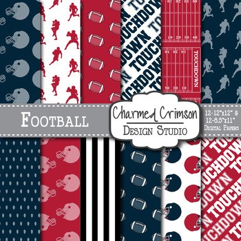 Red and Navy Blue Football Digital Paper 1441