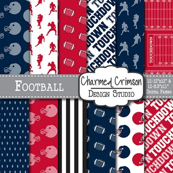 Red and Navy Blue Football Digital Paper 1072