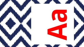 Red and Navy Ikat Alphabet