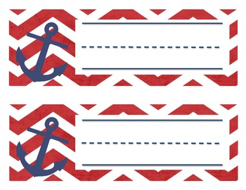 Red and Navy Nautical Nameplates