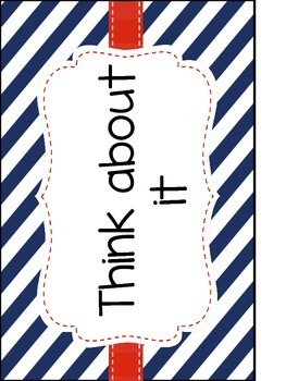 Red and Navy Patterns Behavior Clip Chart (Nautical; Patriotic)