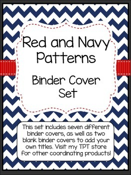 Red and Navy Patterns Binder Covers with Editable File