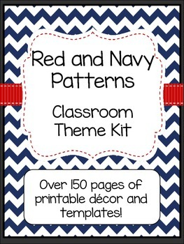 Red and Navy Patterns Classroom Theme Kit- EDITABLE (Nautical; Patriotic)