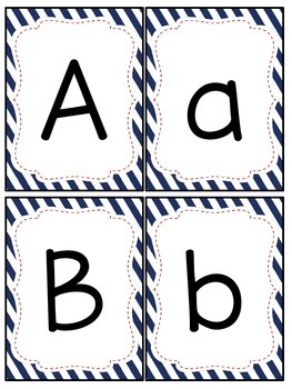 Red and Navy Patterns Number and Letter Cards (Nautical; Patriotic)