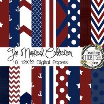 Digital Papers - Red and Navy {blue} 12X12 {Personal and C