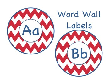 Red and Navy chevron word wall labels