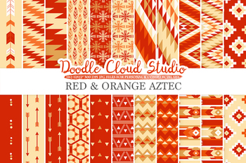 Red and Orange Aztec digital paper, Tribal Red and Gold patterns, native