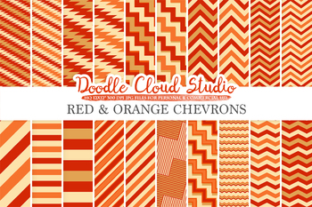 Red and Orange Chevron digital paper, Chevron and Stripes Red and Gold