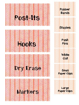 Red and Orange Chevrons - Teacher Toolbox Labels