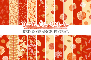 Red and Orange Floral digital paper, Red and Gold Floral patterns, Flowers.