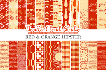 Red and Orange Hipster digital paper, Vintage Retro Red and Gold patterns