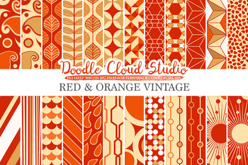 Red and Orange Retro digital paper, Geometric Vintage patterns, Red and Gold