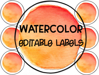 Red and Orange Watercolor Circle Labels