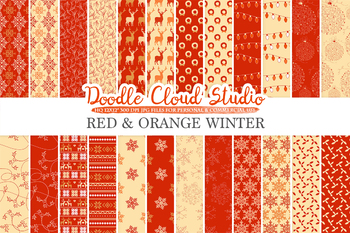 Red and Orange Winter digital paper, Christmas Holiday Red and Gold patterns