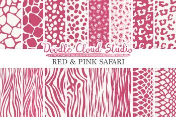 Red and Pink Animal Safari digital paper, Animal Fur pattern, Tiger stripes