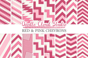 Red and Pink Chevron digital paper, Chevron and Stripes  pattern, tribal chevron