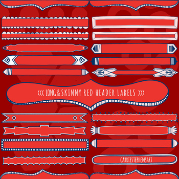 Red and Pink Skinny Header Labels, Page Title ClipArt Borders